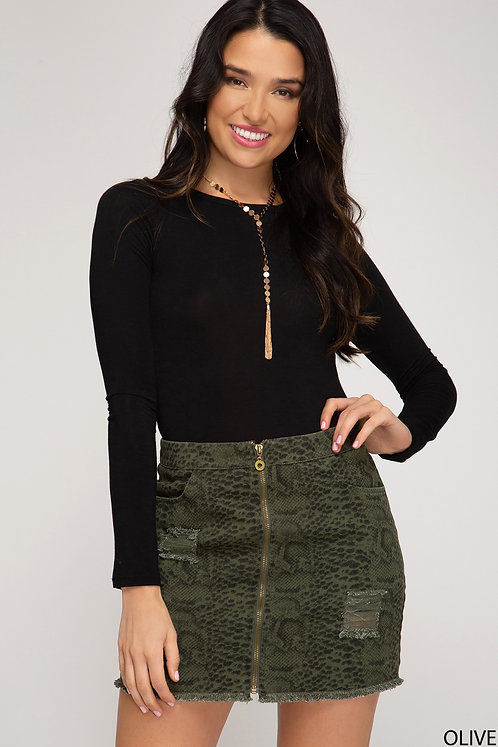 Snake Zip Mini Skirt