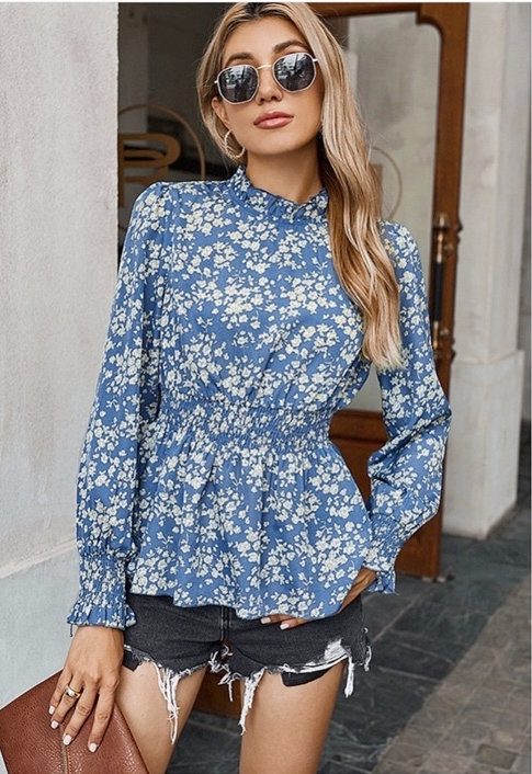 Long Sleeve Blue Floral Print Top