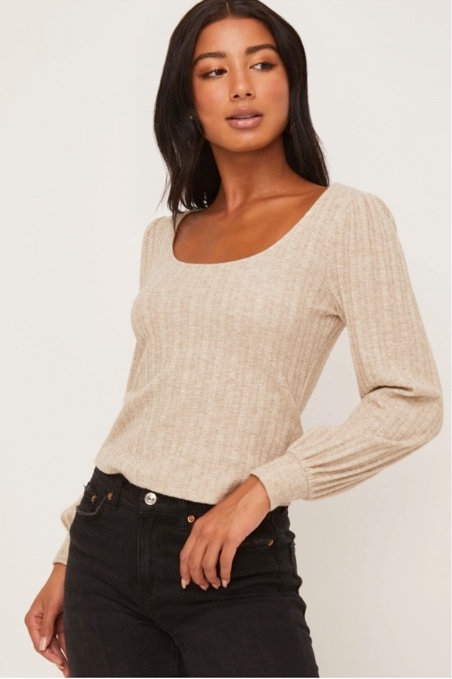 Long Sleeve Puff Sleeve Top
