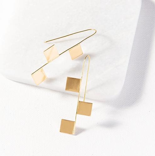 Brass Hook w/ Squares Earrings