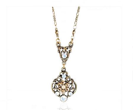 Art Nouveau Floral Motif Swarovski Crystal Golden Necklace