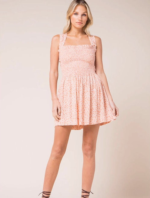 Floral Sleeveless Smocked Mini Dress