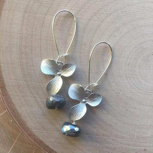 Labradorite Silver Flower Earring