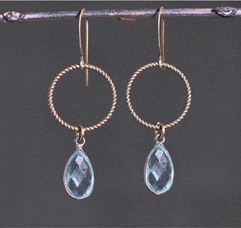 Antique Brass Medium Circle Earrings w/ Stone