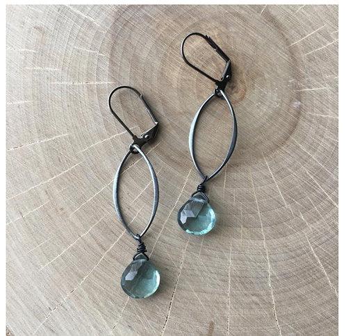 Apatite & Gunmetal Earrings
