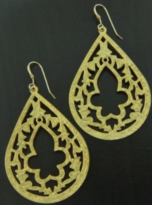 Matte Gold Motif Earrings