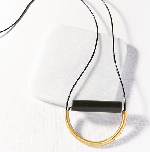 Black Ceramic + Brass Necklace