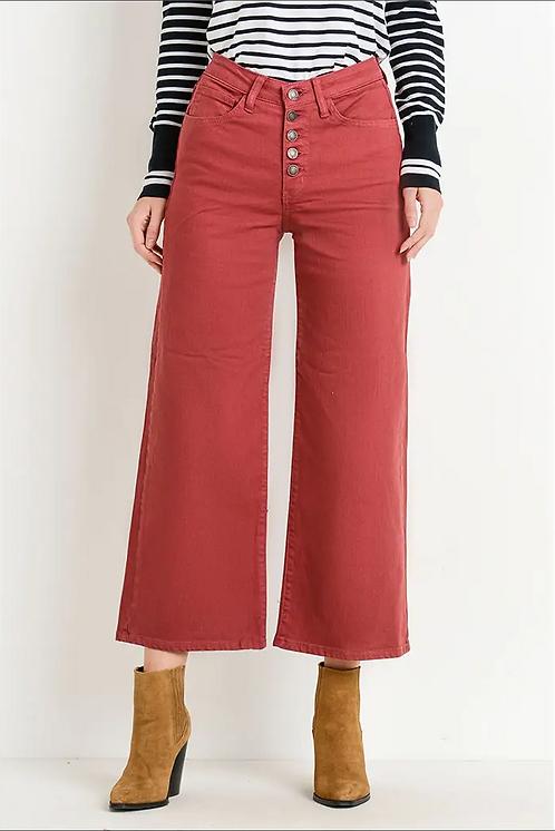 Button Wide Leg Jeans