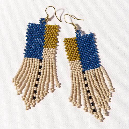 Lapis + Citron See Bead Earrings
