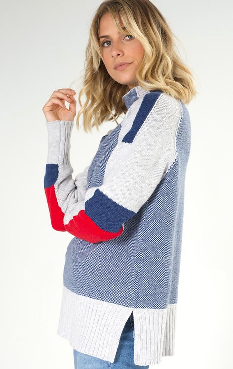 Funnel Neck Intarsia Ski Sweater