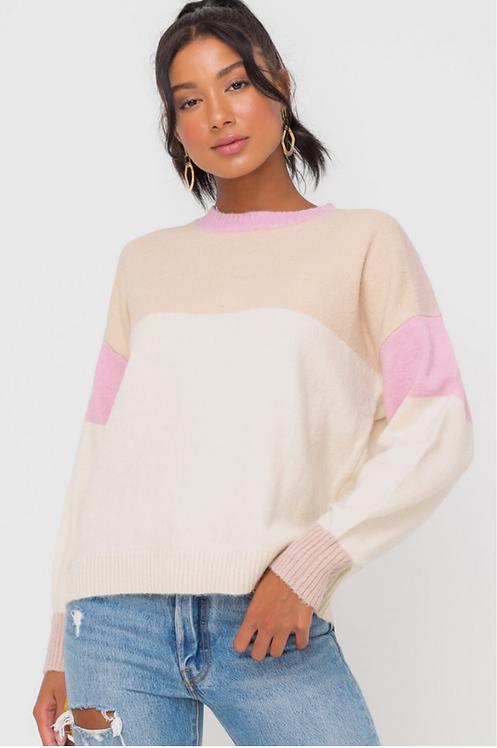 Color-block Pullover Sweater