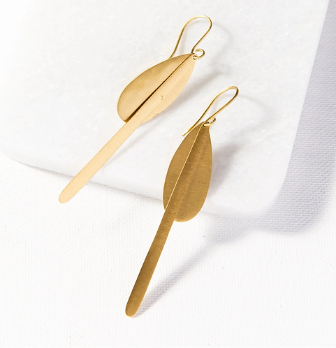 Matte Brass Drop Earrings