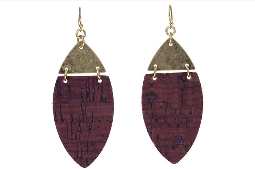 Burgundy Cork Earrings