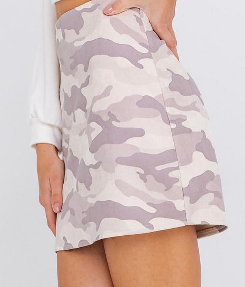 Sueded Feel Camo Mini Skirt
