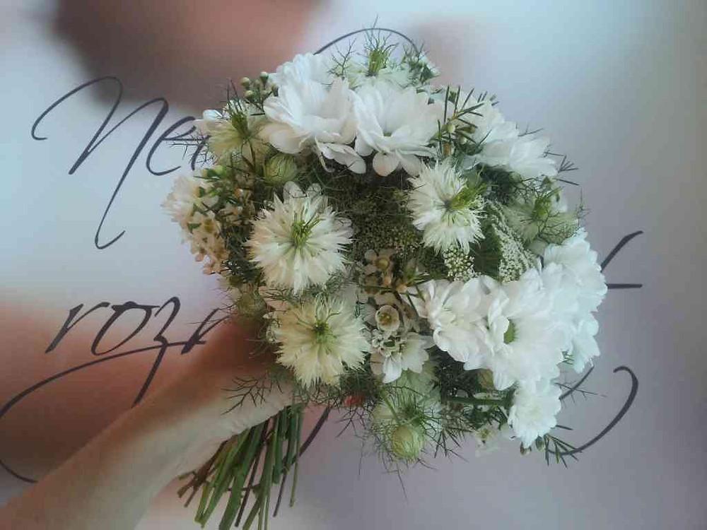 Svatební kytice Waxflor, Černucha, Chryzanthema, Kopr