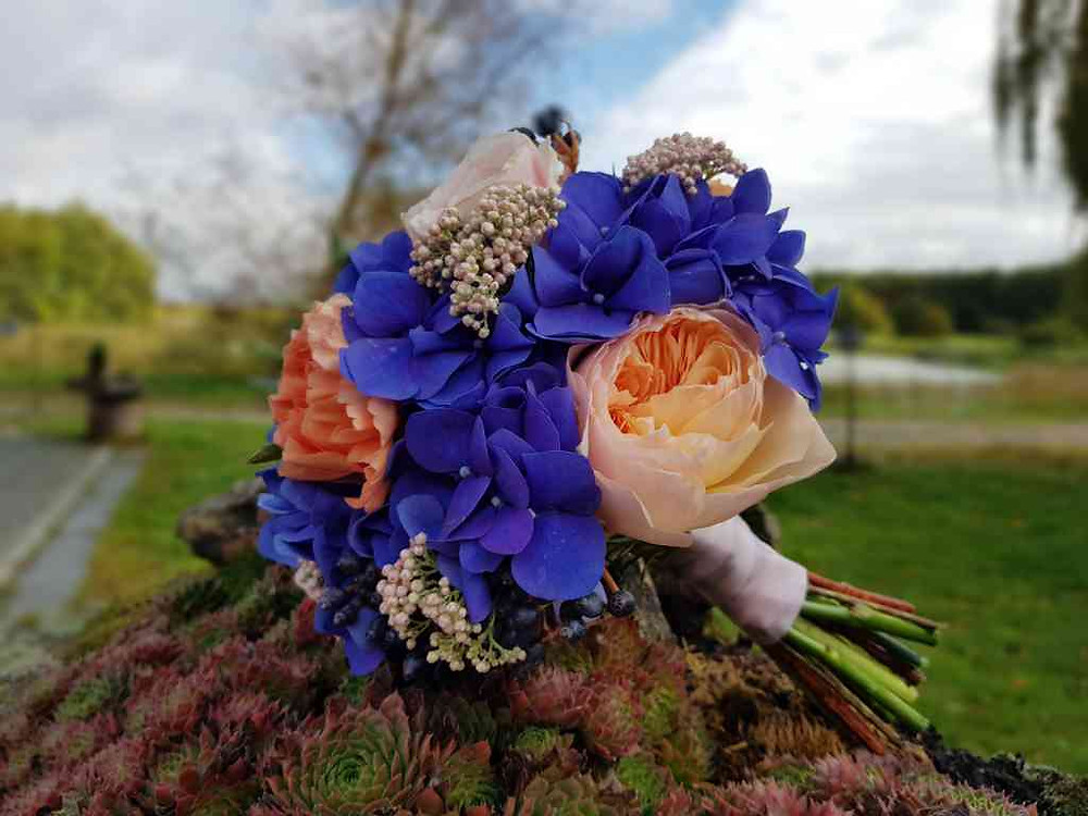 Svatební kytice anglická Růže, Senecio, Hortenzie