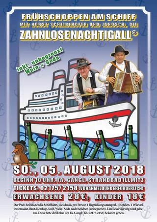 Frühschoppen am Schiff mit der Zahnlosen Nachtigall am Sonntag, dem 05. August 2018