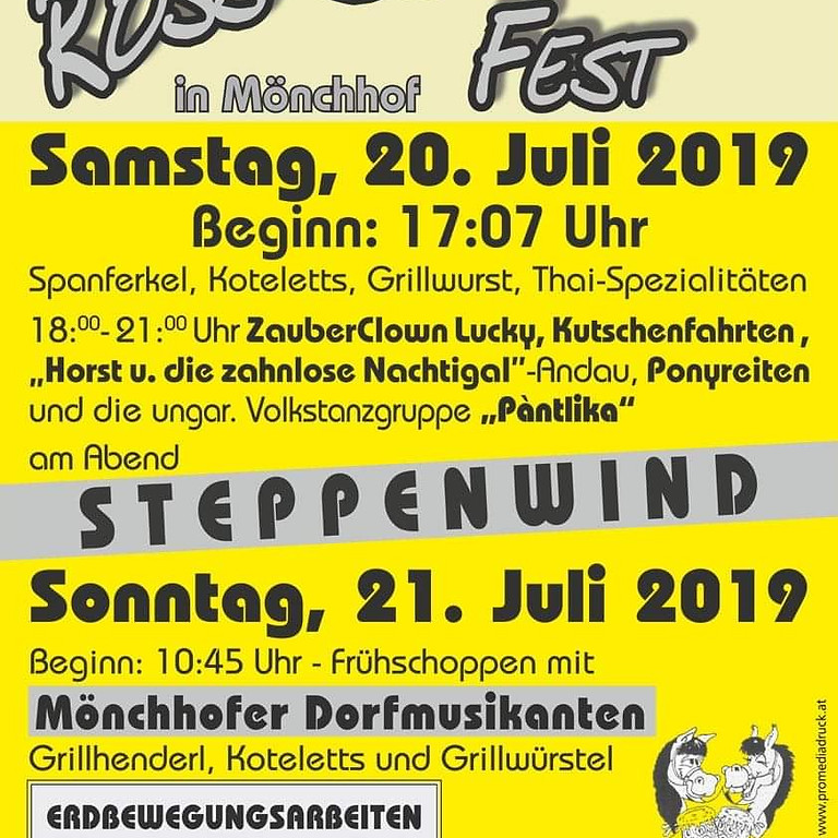 Sa., 20 Juli 2019: 30.Ross-Schwemm Fest in Mönchhof