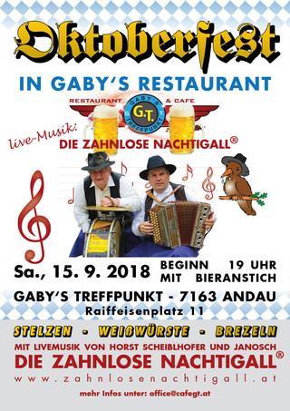 So., 15. September: Oktoberfest in Gaby's Restaurant