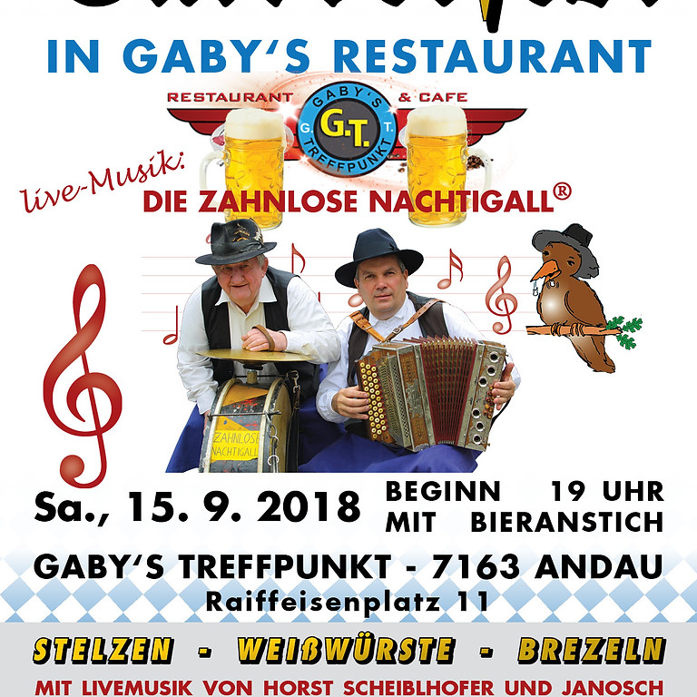 Sa., 15. September 2018: Oktoberfest in Gaby's Restaurant