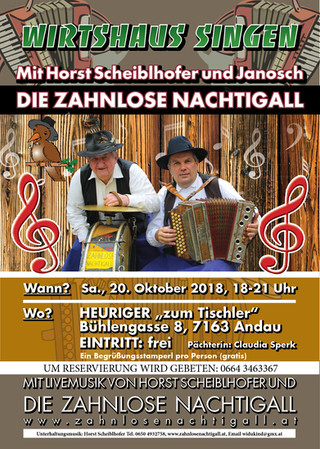 """Sa., 20. Oktober: Wirtshaussingen im Heuriger """"zum Tischler"""""""