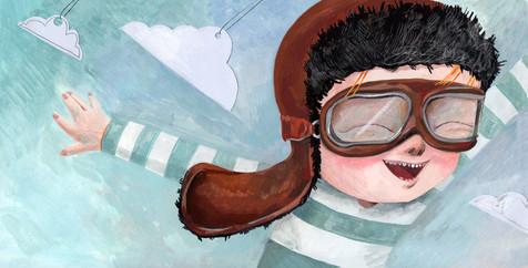 "Illustration for the silent book ""Pilot"""