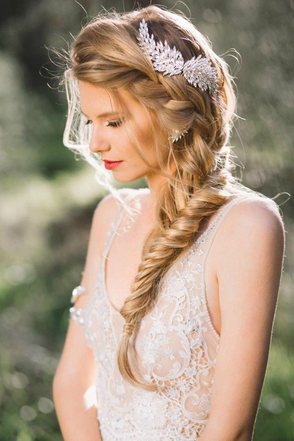romantic large braid embellished with a jewel clip