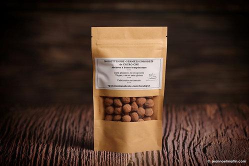 Noisettes pré-germées enrobées de cacao cru