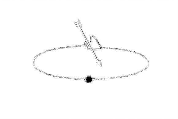 Bracelet Nude diamant noir sur argent