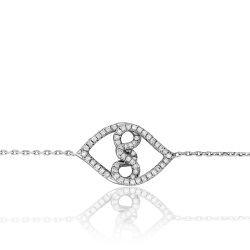 """Bracelet """"Entrelacs"""" - Or blanc et pavage diamants grand modèle"""
