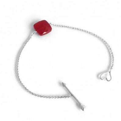 """Bracelet """"Little Nude"""" - Onyx rouge cerise sur argent"""