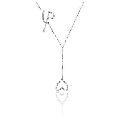 """Collier """"Entrelacs - Or blanc et pavage diamants"""