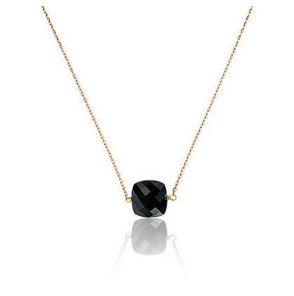 Collier petit Onyx - Or rose