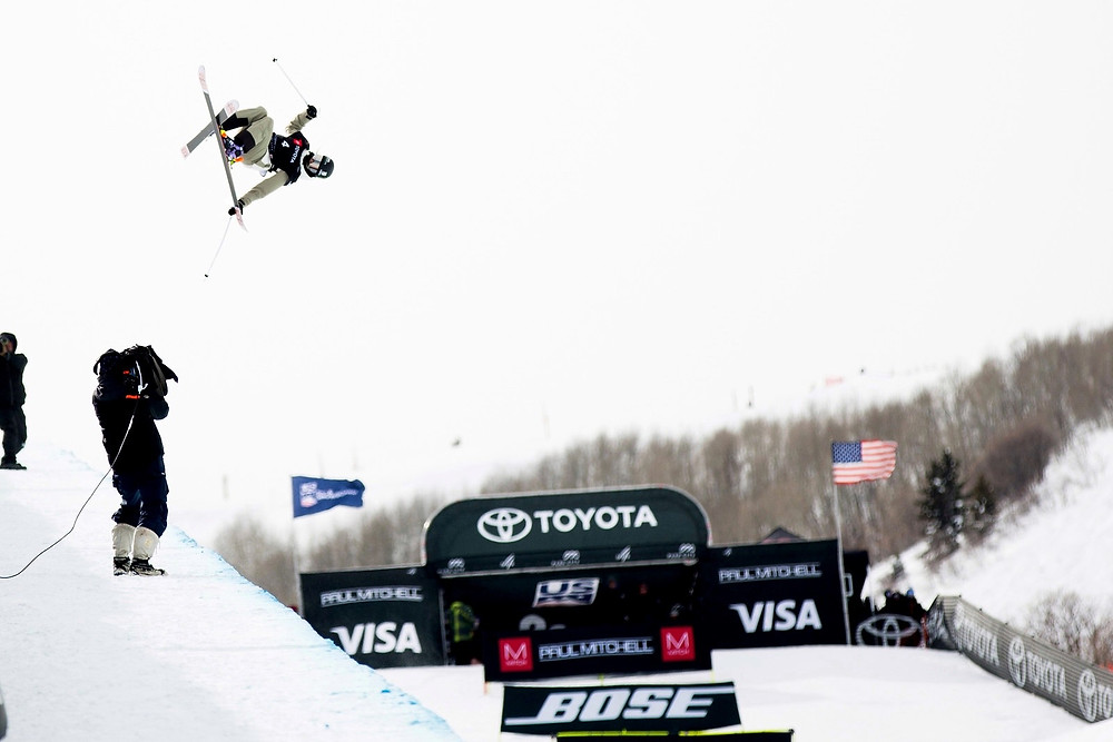 Brita doing a trick in the air.