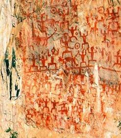 Cliff murals on Huashan Mountain, China.