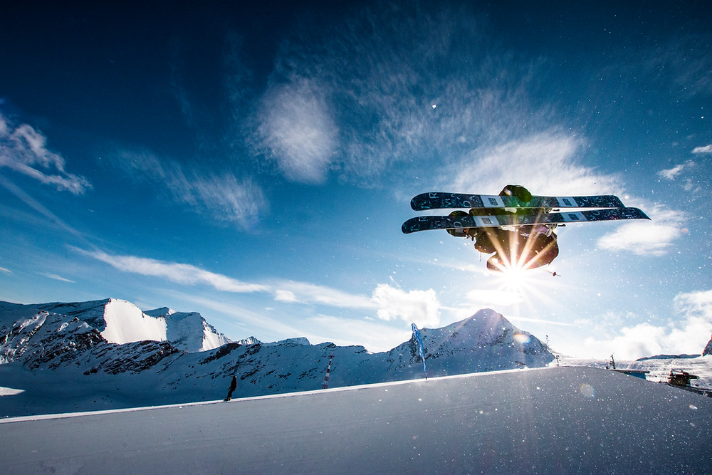 ski jumper in the mountains