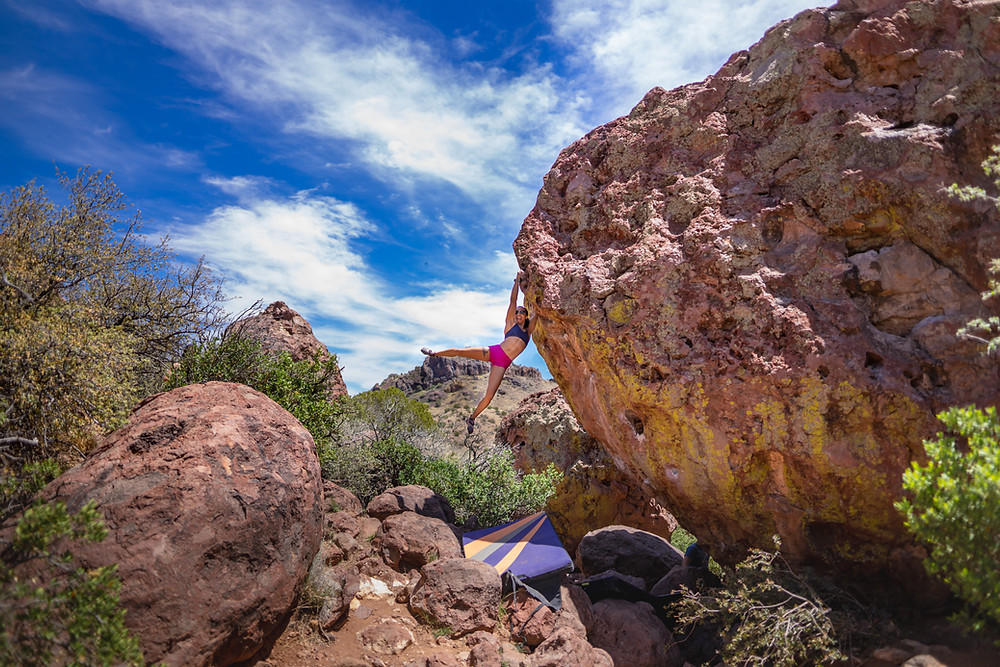 Climbers bouldering