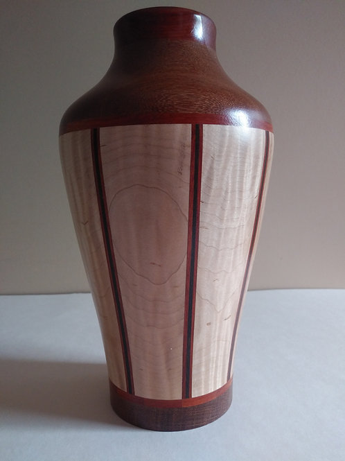 Tiger Maple, Gabone Ebony, Lacewood. 9 1/4 HX 5 1/2 W