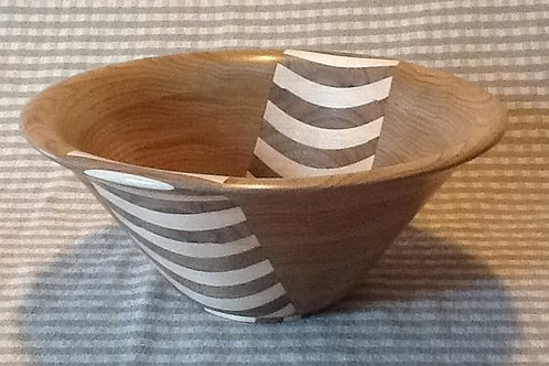 "Segmented Bowl 10"" X 4""  Wood: Oak, Butternut"