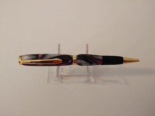 Slim Line Pen with Soft Grip Purple Swirl Acrylic