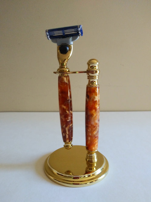 Razor and Stand Set Gold 7""