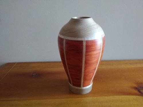 "Redheart and Maple Vase 9""H X 5 1/2 D"