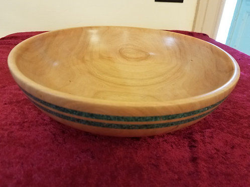 "Bowl with double crushed Turquoise rings 10"" X 3 1/4"""