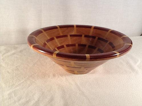 """Segmented basket weave Bowl 10 1/2"""" X 4""""  Wood: Padauk, Yellowheart, Cherry"""