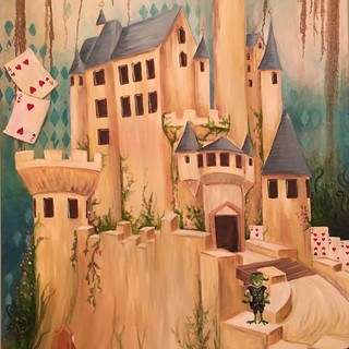 Alice Visits the Queen- Center of Wonderderland Triptych