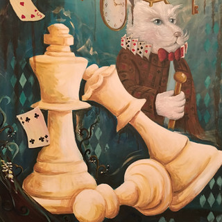 I'm Late- Left of Wonderland Triptych