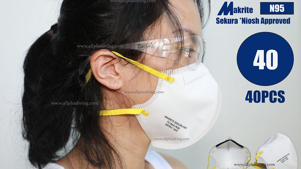 [Pack of 40PCS] NIOSH Certified, Makrite Sekura N95 Face Masks