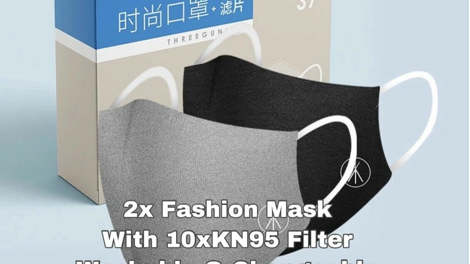 [2pcs/pack] ThreeGun Fashion Face Mask with 10x Kn95 Filter Washable/Reusable