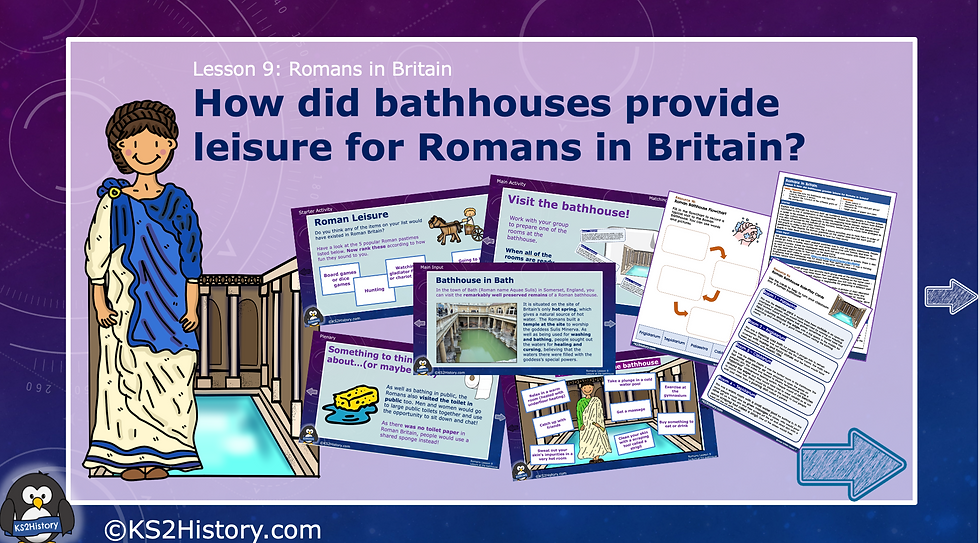 How did bathhouses provide leisure for Romans in Britain?