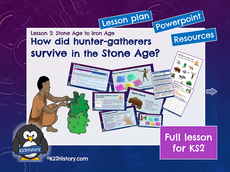 2. How did hunter-gatherers survive in the Stone Age?